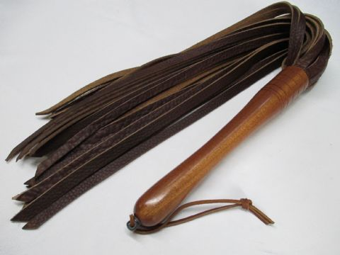 Hard Wood Handled, 10mm wide Falls Saddle Leather Flogger